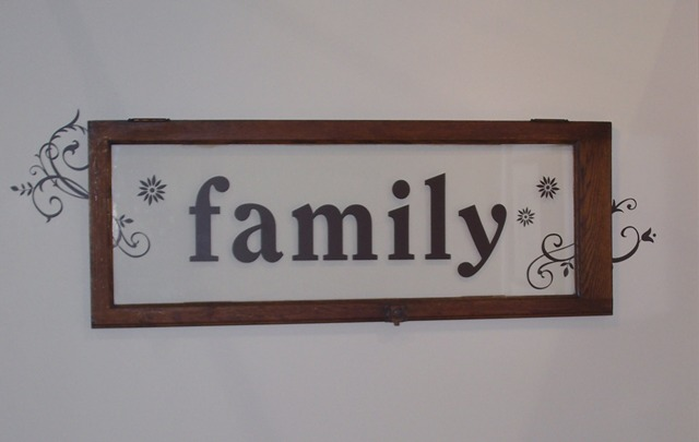 Family see through glass frame wall decor