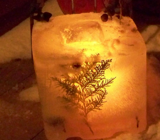 Glowing ice
