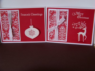 Christmas Card Class two cards red