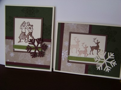 Christmas card class green burgundy and cocoa two cards