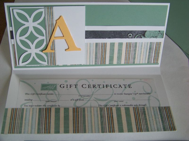 Gift Certificate card 2010 close up and inside