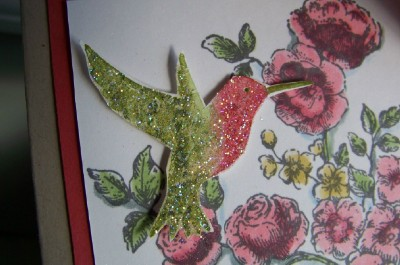 Elegant mother's day card close up humming bird